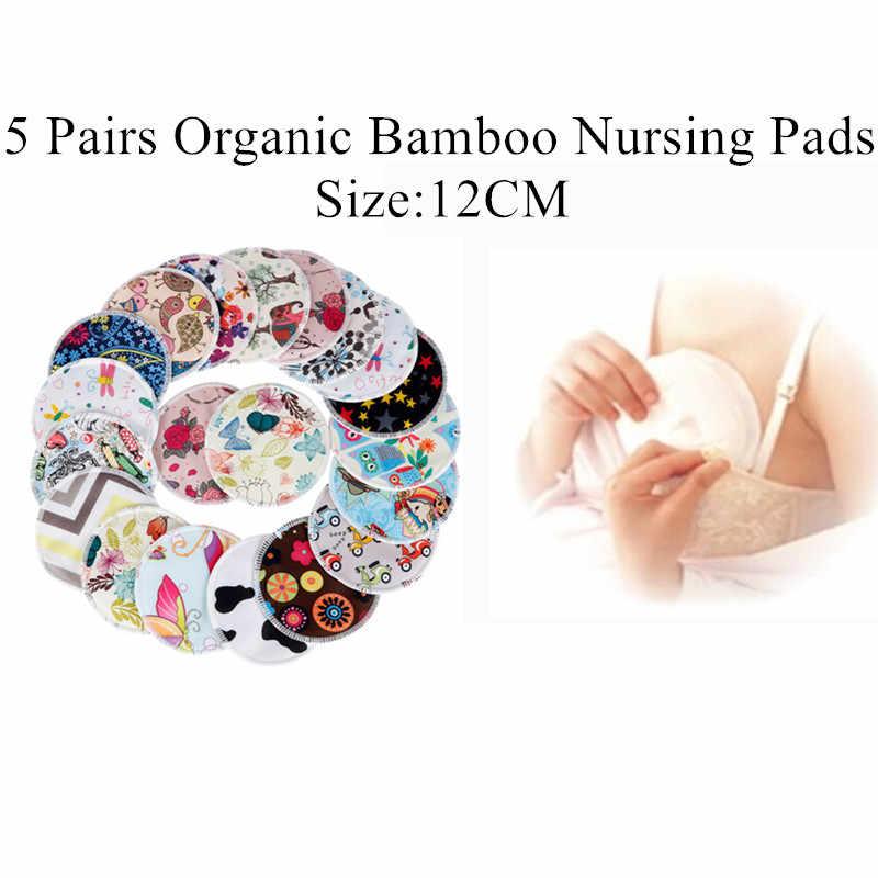 [Simfamily] 10PCS Reusable Bamboo Breast Pad พยาบาลสำหรับแม่ล้างทำความสะอาดได้กันน้ำตั้งครรภ์ 12 ซม., ผ้าไม้ไผ่วัสดุด้านใน