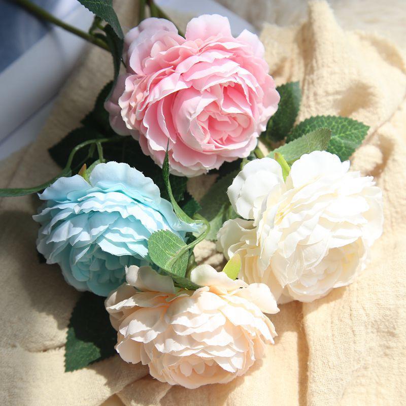 Simulation Blue Peony Bouquet Artificial Silk Flowers Wedding Bridal Home Decor
