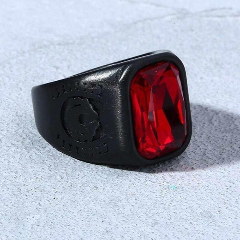 Cristal de Aço Inoxidável dos homens Anel de Pedra Vermelha Com Preto Signet Jóias Motociclista
