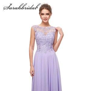 Image 4 - Haft elegancka, długa suknie wieczorowe zroszony linia O Neck Illusion suknia na graduation data formalna Prom Vestidos CC5311