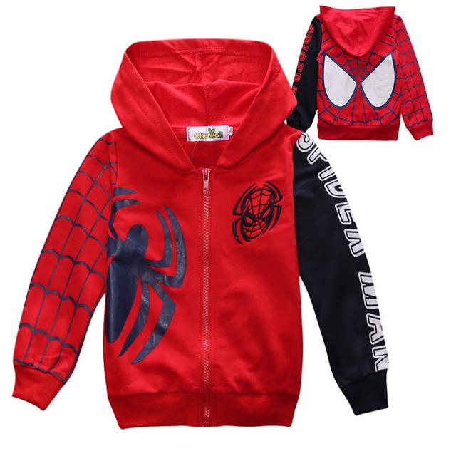 Meninos da criança Hoodies Hoodies Moda Infantil Moletom Meninos Spiderman Do Hoodie Dos Desenhos Animados Crianças Roupas de Algodão 2016 Novos Infantil-Coat