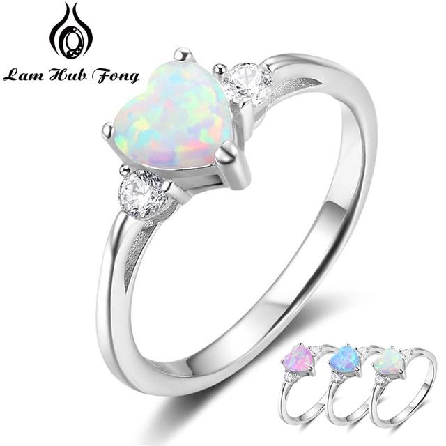 Classic Eternal Heart 925 Sterling Silver Rings for Women Blue Pink White Opal Ring Female Engagement Finger Ring (Lam Hub Fong) 1