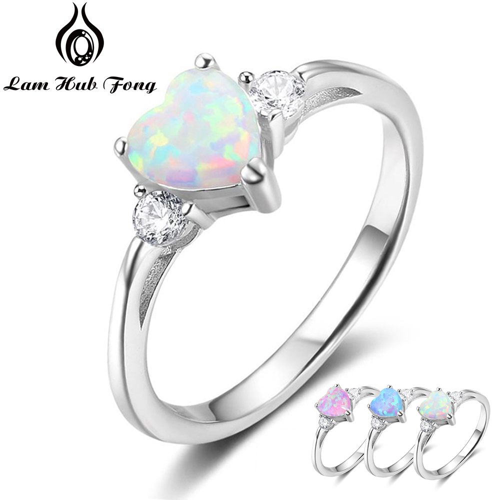 Classic Eternal Heart 925 Sterling Silver Rings For Women Blue Pink White Opal Ring Female Engagement Finger Ring (Lam Hub Fong)