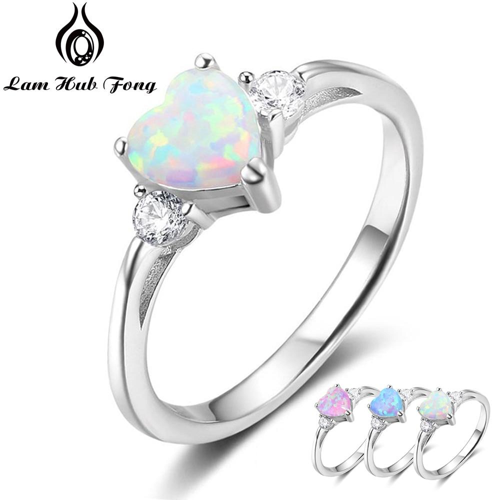 Классические серебряные кольца в виде вечного сердца для женщин, синие, розовые, Женское Обручальное кольцо на палец (Lam Hub Fong)