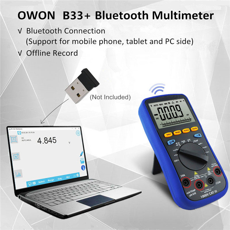 New Bluetooth LCD Digital Multimeter BLE 4.0 with Test Lead  K-type Thermocouple 6000 Count Backlight Real 10M Ohms lcd digital compact pen type multimeter dmm lcd backlight display with english manual