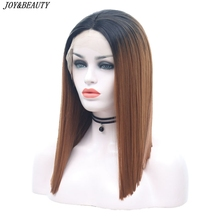 JOY&BEAUTY Short Bob Lace Front Wig Brown Ombre Black 12Inch Heat Resistant Synthetic Hair Wig For Women Cosplay Wigs