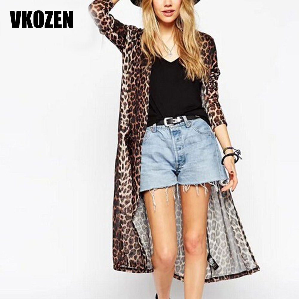 New Fashion Women Leopard Print Long Blouses Elegant Three Quarter ...