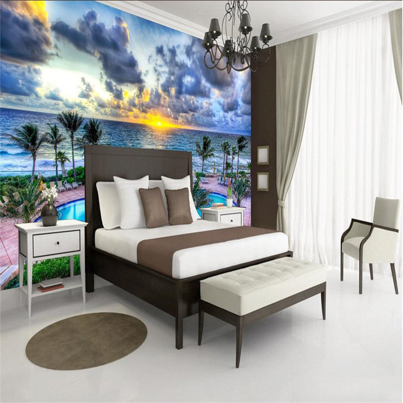 beibehang Large custom 3d mural decoration photo background photography summer swimming pool at dusk art modern room frescoes
