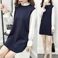 2016 versão Coreana da nova moda inverno mulheres grávidas chiffon longo-vestido de mangas compridas falso de duas solto tamanho grande T-shirt