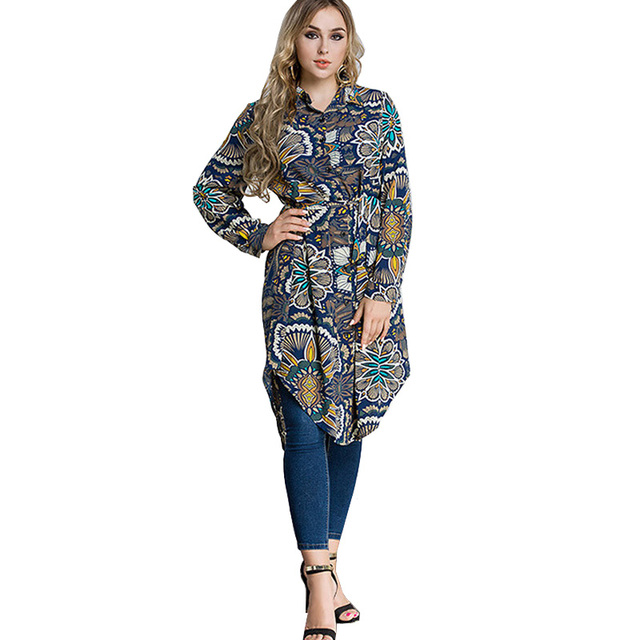 US $18.9 25% OFF|Turkey Women Autumn T Shirt Dress Long Sleeve Floral  Buttons Plus Size Flower Tshirt Dress Muslim Style Vestido mujer Jurken-in  ...