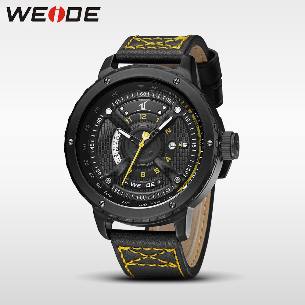 WEIDE genuine men watches luxury brand watch quartz men sports leather analog watches waterproof Schocker clock bracelet watches weide new men quartz casual watch army military sports watch waterproof back light men watches alarm clock multiple time zone