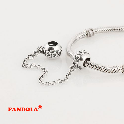 Love Heart Safety Chain Fits Pandora Charm Bracelets 925 Sterling Silver Charms DIY Thread Beads Jewelr Making Wholesale SF201
