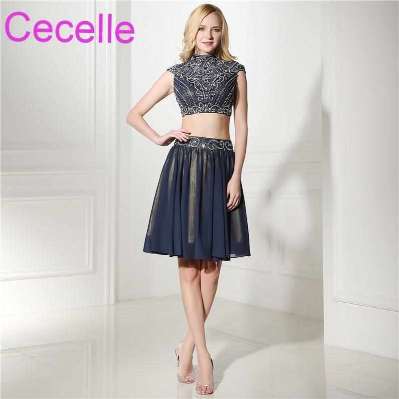 Navy Blue 2 Pieces Short   Cocktail     Dresses   2019 High Neck Beaded Top Sparkly Juniors Informal 2 Pieces   Cocktail   Party   Dress   Sale