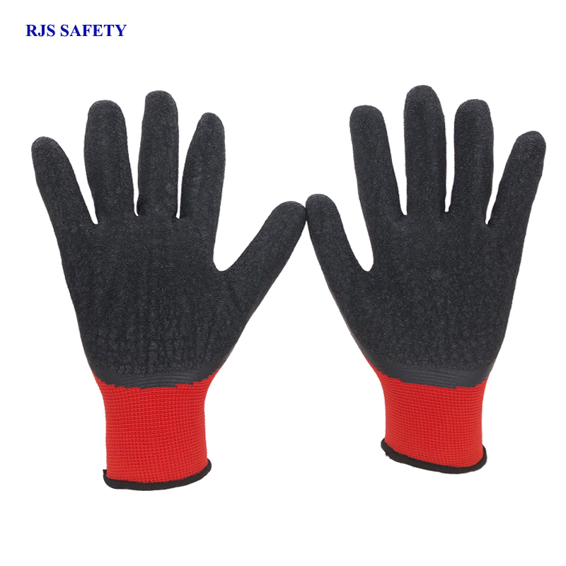 RJS SAFETY New Arrival 12 Pairs Red Nylon Black Latex Safety Work Gloves Builder Grip For Palm Coating Gloves Garden Gloves 2008 2pairs nylon black antistatic work gloves knit working gardening lumbering hand safety security protector grip white