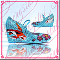 Aidocrystal handmade lovely animal pattern blue dresses high heel shoes evening party pump wedge for girls