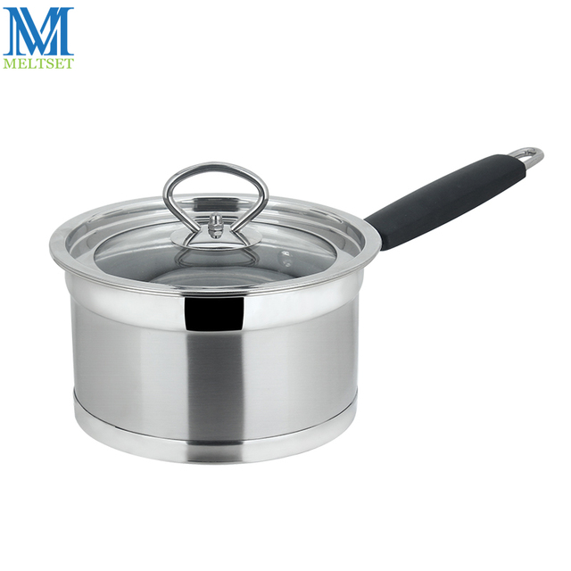 Kitchen Pots Stainless Steel Prep Table 16cm 18cm Milk Cooking Pot With Glass Lid Double Bottom Sauce Pan Baby