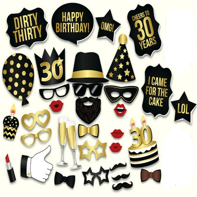 Photo Booth Props Happy Birthday 30th Black Gold Dirty Thirty Thirtieth Party Favor Event Supplies