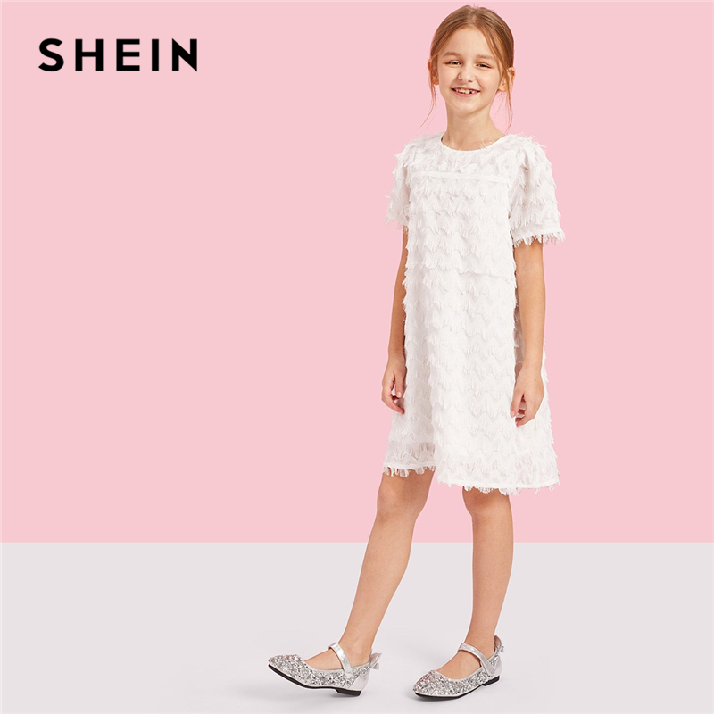 SHEIN Kiddie White Layered Fringe Patched Swing Girls Party Dress 2019 Summer Short Sleeve A Line Cute Knee Length Kids Dresses kids organza butterfly patched dress