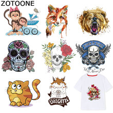 ZOTOONE Skull Patches Animal Cat Fox Stickers Iron on Transfers for Clothes T-shirt Heat Transfer Diy Accessory Appliques F1