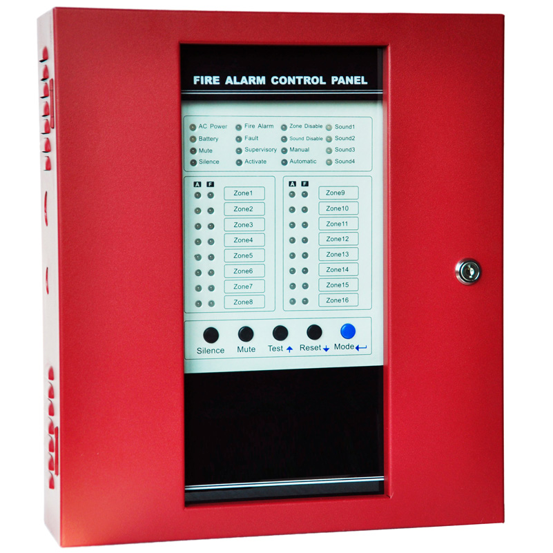 Red Conventional Fire Control Panel Fire Alarm Control System Smoke  Alarm  Panel With16 Zones FACP Controller