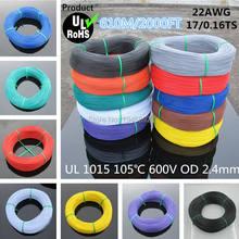 610 metros 2000FT Flexible 22AWG UL1015 diámetro 2,4mm 105 grado 600V cable electrónico Conductor 10 colores para seleccionar