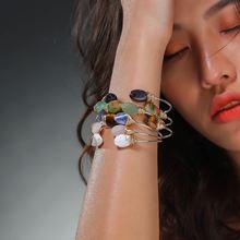 купить 2019 New Fashion Colorful Natural Oval Stone Woman Bracelet Silver Plating Fine Bracelet Ring For Lady Girl Jewelry For Gift по цене 109.42 рублей