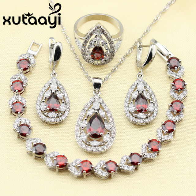 Distinctive Red Created Garnet  4PCS Jewelry Set 925 Sterling Silver Earrings Ring Necklace Pendant Bracelet Christmas gift