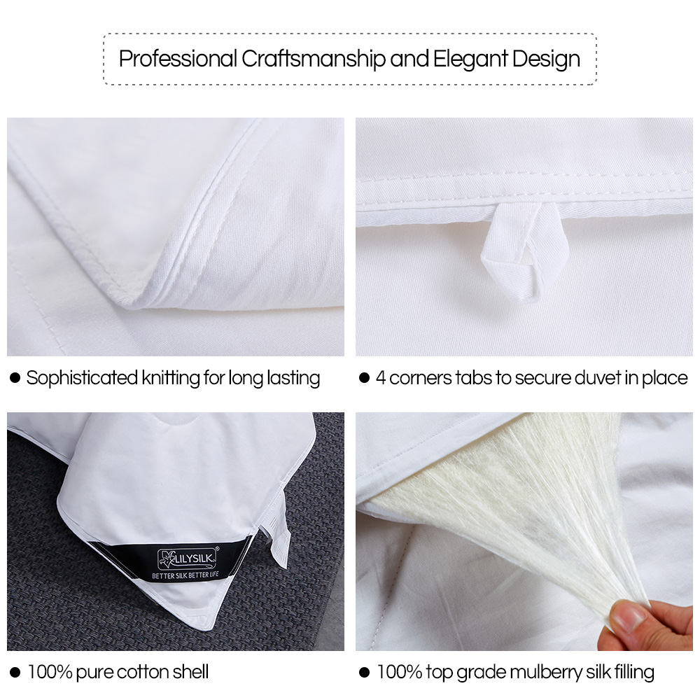 Image 4 - LilySilk Comforter Duvet Silk Washable Cotton Covered 100 pure and natural long strand silk floss Free Shippingsilk comfortersilk flosspure silk comforter -