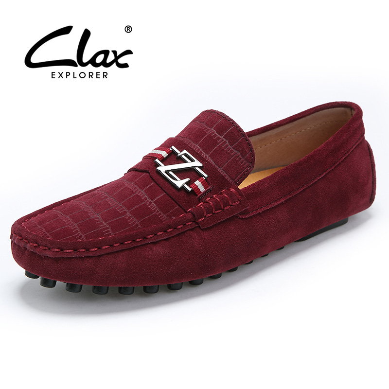 Clax Men Boat Shoes Casual 2017 Spring Summer Red Loafers for Male Suede Leather Shoe Slip On Designer Flats Moccasin Soft 2017 new fashion summer spring men driving shoes loafers real leather boat shoes breathable male casual flats