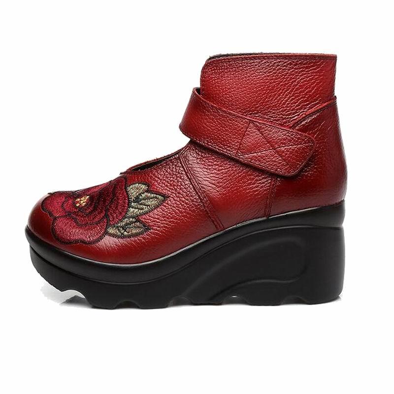En Main Chaussures Brodé Botines Vintage Mode 2018 Véritable À Nouvelle Femme De Bottes Fleur Noir rouge Arrivée Cuir La Coins Automne Cheville Femmes 5RqS34ALcj