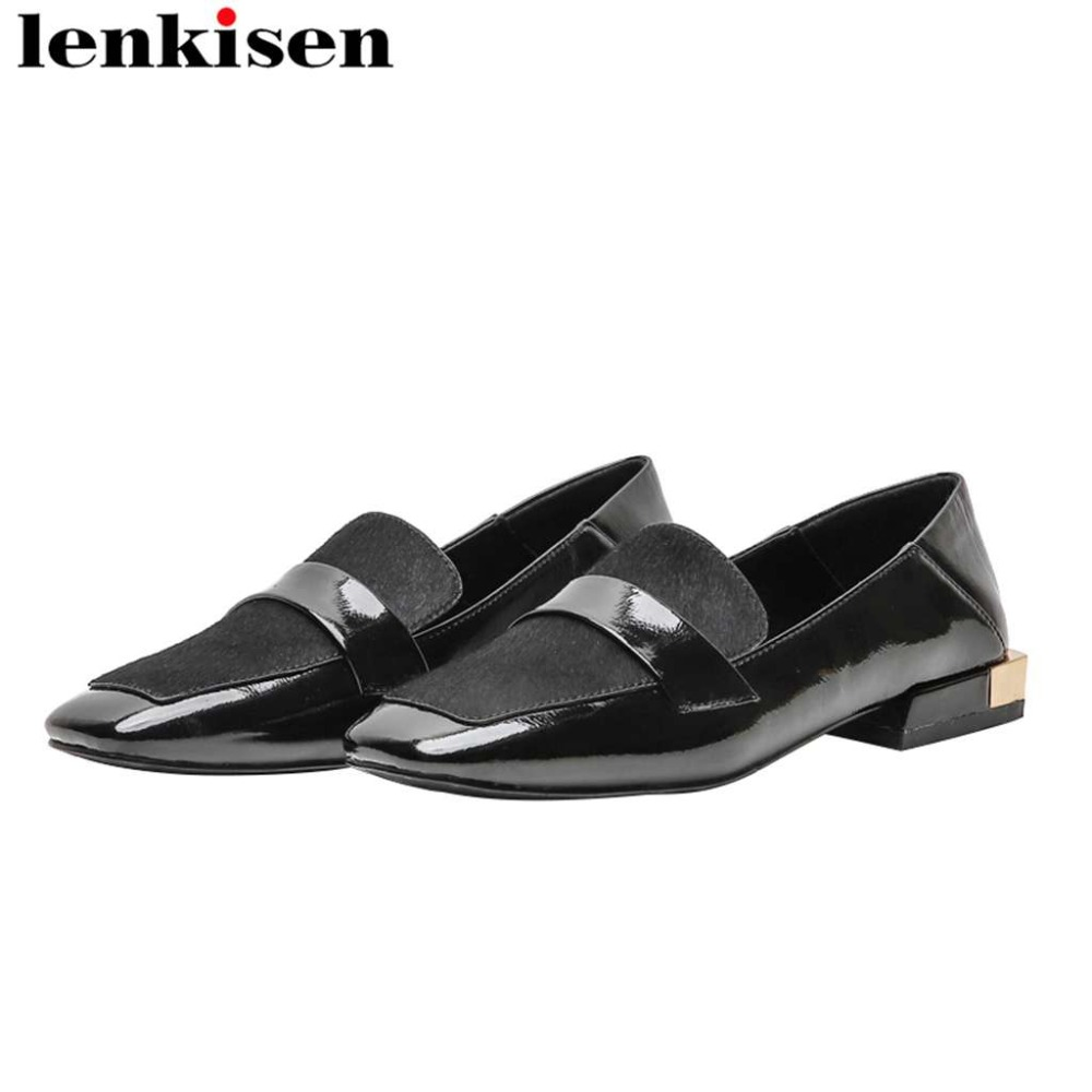 Lenkisen Pumps Low-Heels Square Toe Classic Plus-Size Horsehair on Slip L64 Loafers Hand-Sewn