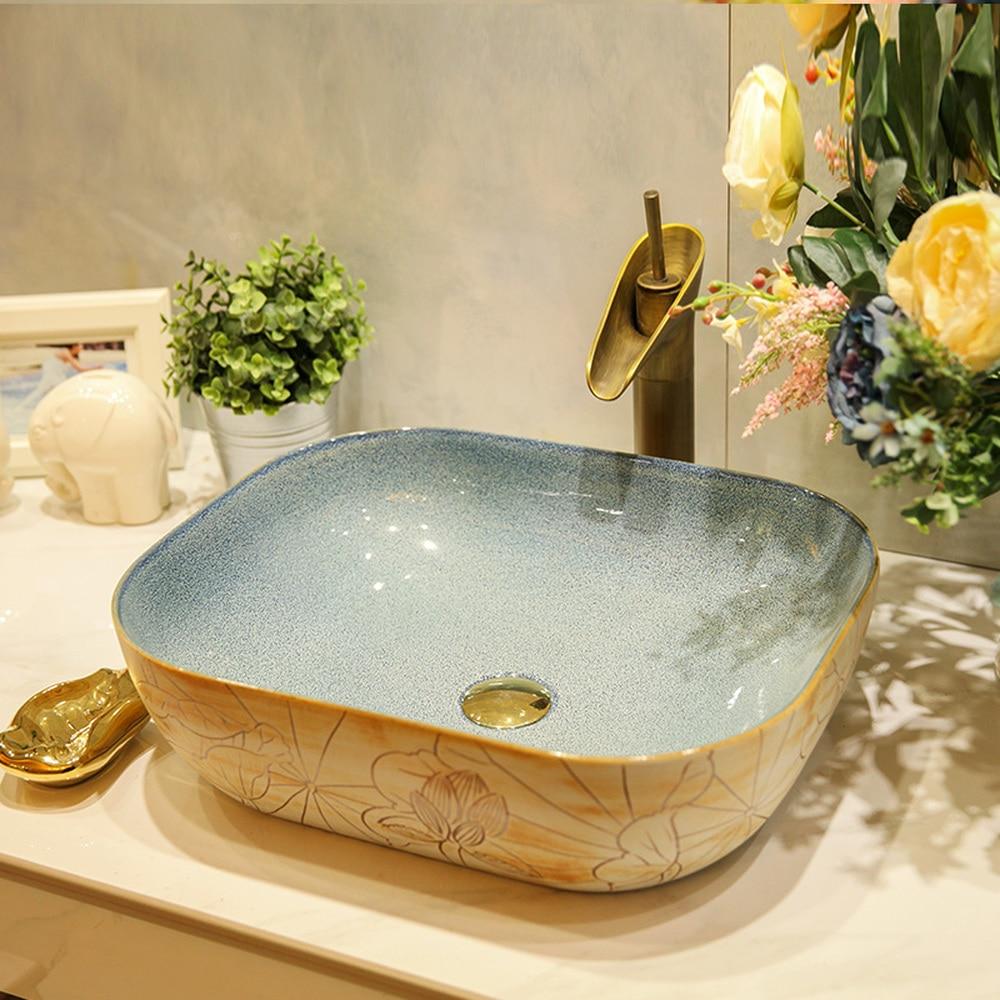 Square above counter basin ceramic bathroom vanity washbasin washbasin art Fangyuan carving lotus LO621444