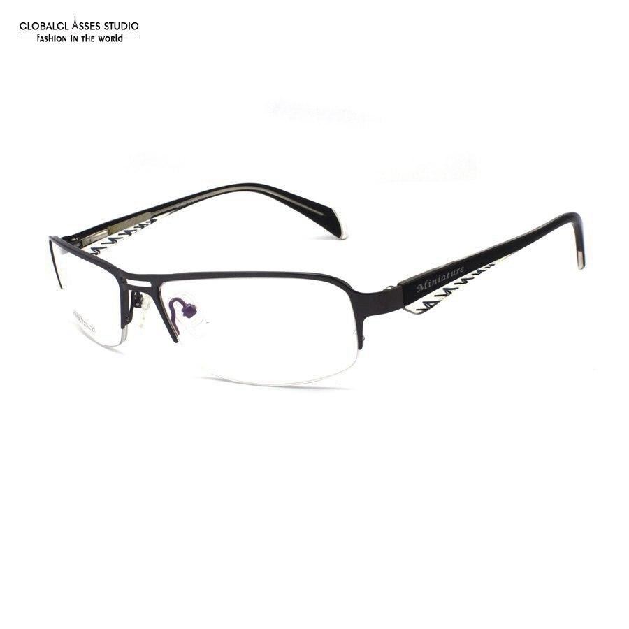 Latest Fashion Brand Design Ultra Light Half Rim Metal Glasses Frame Men Gunmetal Frame Stripe Business Eyeglasses M3058-COL21