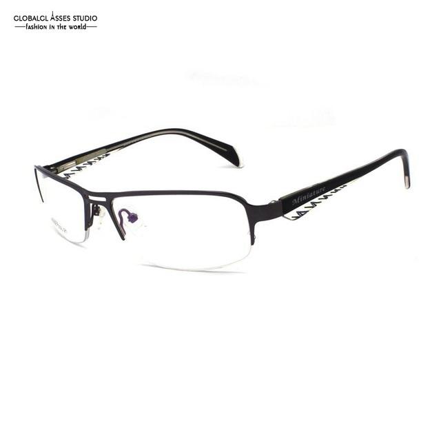 Mais recente Moda Marca Design Ultra Leve Meio Aro de Metal Óculos de Armação Homens Óculos de Armação Gunmetal Stripe Negócios M3058-COL21