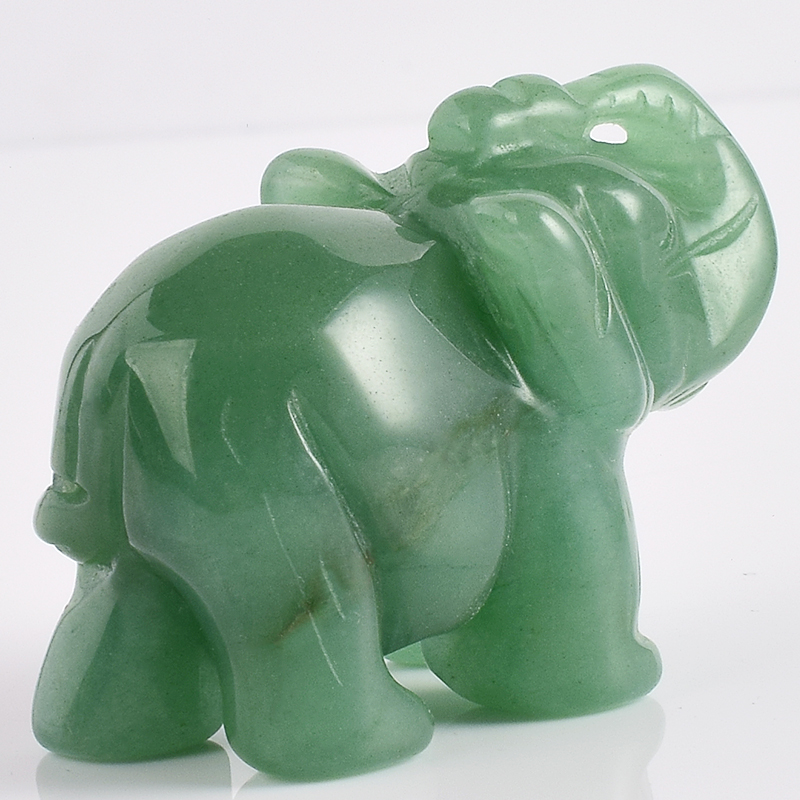 2 Inch Elephant Figurines Craft Carved Natural Stone Green Aventurine - Home Decor - Photo 5