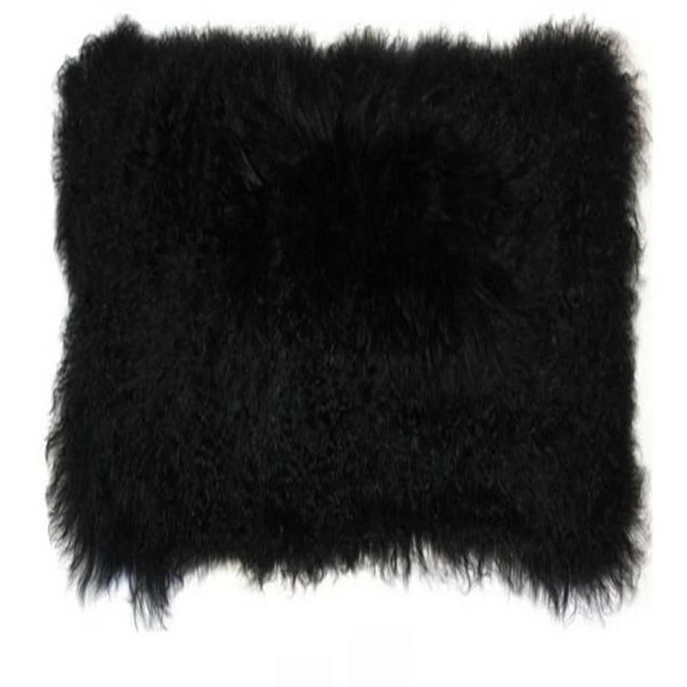 black real mongolian fur pillow cover genuine tibetan lamb fur cushion cover 12 x20 cojines decorativos para sofa decorative