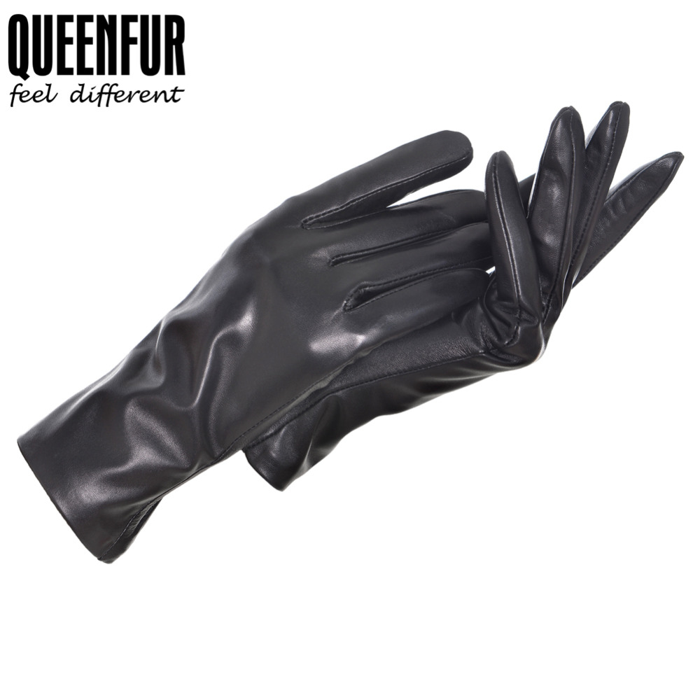 High quality womens leather gloves - Women Touch Screen Leather Gloves Genuine Sheepskin Gloves Winter Female Driving Black Goatskin Mittens High Quality