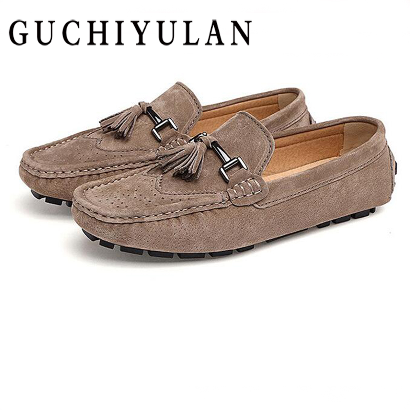 GUCHIYULAN New Men Cow Suede Loafers 2018 Spring Autumn Genuine Leather Driving Moccasins Slip on Men Casual Shoes Big Size 44 new arrival high genuine leather comfortable casual shoes men cow suede loafers shoes soft breathable autumn and winter warm fur
