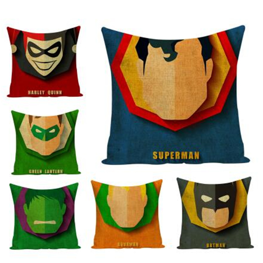 Cartoon Decorative Cushion Cover Super Hero Superman Iron Man Batman Chair Sofa Throw Pillow Case Home Decor Cotton Linen e1419