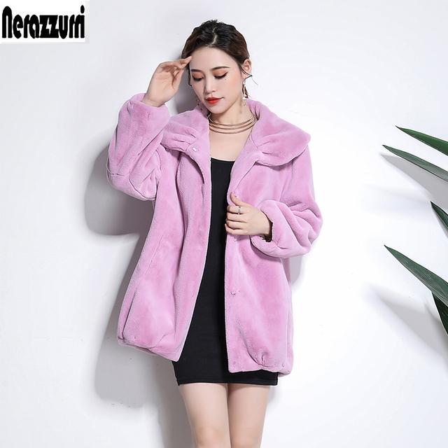 Nerazzurri Winter jacket women fluffy furry black faux fur coat plus size fake sheared mink fur outwear 5xl 6xl new arrival 2019