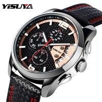 YISUYA Date Disply Quartz Men Wristwatch Chronograph Genuine Leather Band Black Luxury Military Sport Relogio Gift