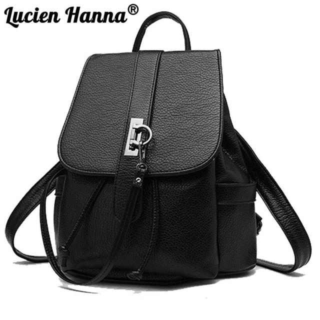 312a47924b 2018 New Design Women s Backpack Female Mini Backpack High Quality Trendy  For Teenage Girls Double Shoulder Bag Hasp Flap Pocket
