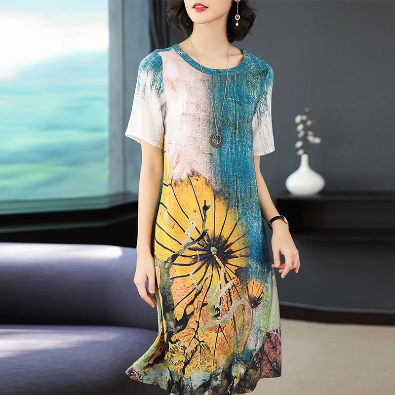 Women 39 s Dresses2019 new summer oil painting printed silk dress fashion loose casual dress large size M 3XL high quality vestidos in Dresses from Women 39 s Clothing