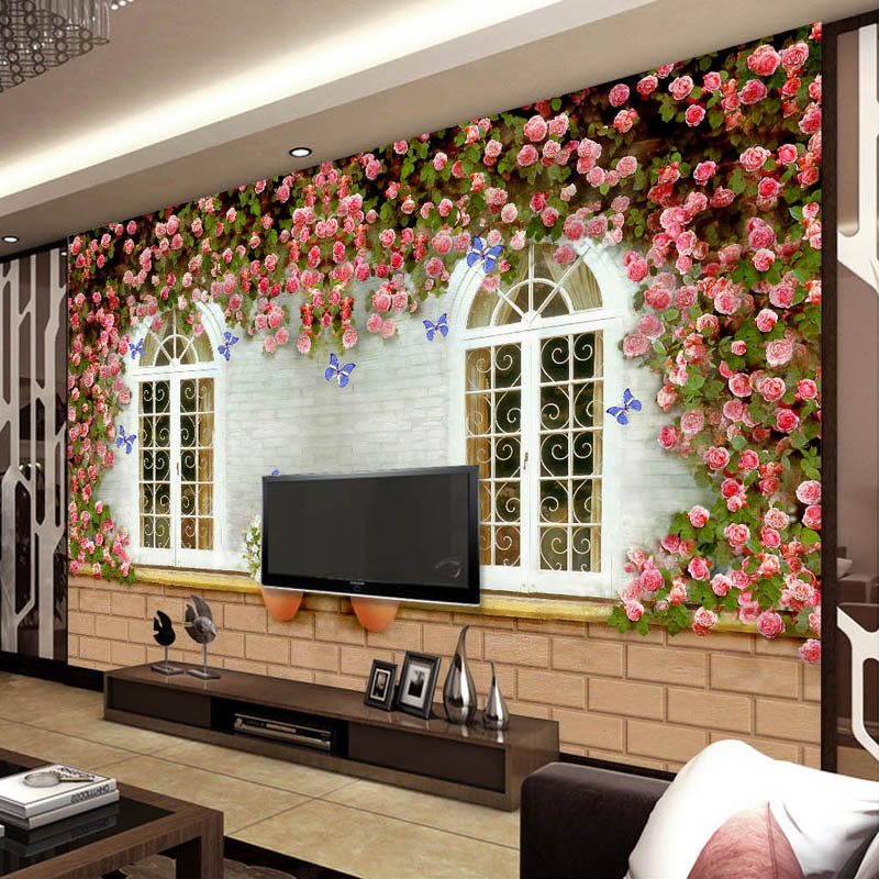 Vintage Rose Window Wallpaper Personalized photo wallpaper Custom 3D