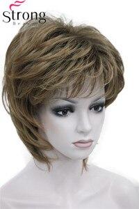 Image 2 - StrongBeauty Breve Rettilineo Marrone mix Parrucca Sintetica Soffici parrucche Dei Capelli delle donne