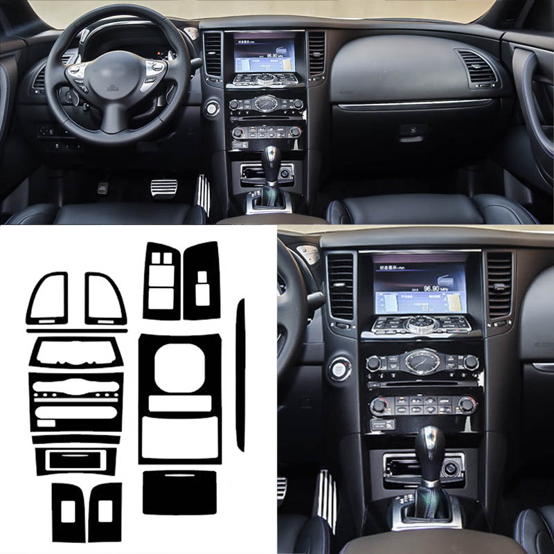 Car Styling New 3D Carbon Fiber Car Interior Center Console Color Change Molding Sticker Decals For Infiniti QX70|Automotive Interior Stickers| |  - title=