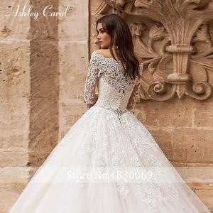 Image 4 - Ashley Carol ślub księżniczki sukienka 2020 z długim rękawem aplikacje zasznurować łódź szyi rocznika linii suknia ślubna Vestido De Noiva