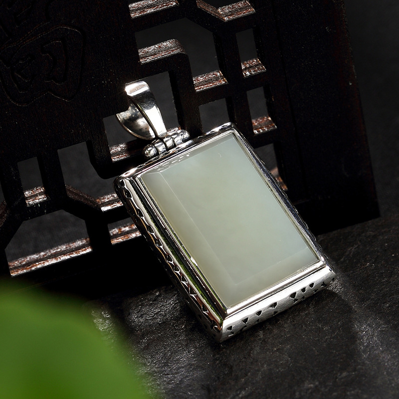2018 New silver S925 pure silver antique mosaic and jade White Jade Jadeite square ladys high-end sweater chain pendant2018 New silver S925 pure silver antique mosaic and jade White Jade Jadeite square ladys high-end sweater chain pendant