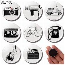 Retro Siyah ve Beyaz Fotoğraf Dolabı Magnet Seti 25 MM Cam Kamera Gitar Bisiklet Yuvarlak Manyetik Buzdolabı Çıkartmalar Ev Deko...