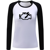IDzn Spring Autumn Women S Raglan Sleeve T Shirt Creative Check Engine Design Print Long Sleeve